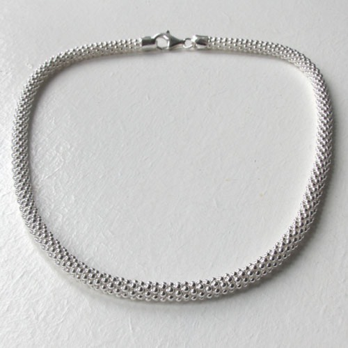 Sterling Silver Popcorn Necklace - 6mm