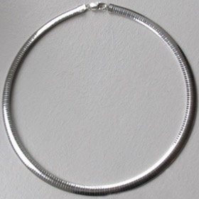 Sterling Silver Oval Omega Chain, Width 8mm