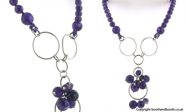 Amethyst Bead Necklace Antonia in Sterling Silver
