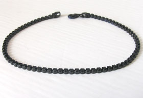 Black Cubic Zirconia and Sterling Silver Tennis Bracelet