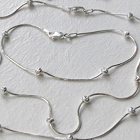 Sterling Silver Snake Bracelet with Diamond Cut Balls