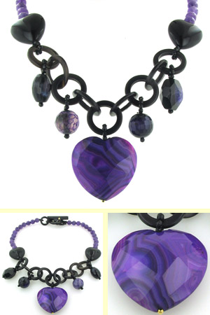 Amethyst, Agate, Black Onyx and Horn Necklace Katrina