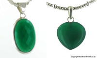 Green Onyx and Sterling Silver Pendants