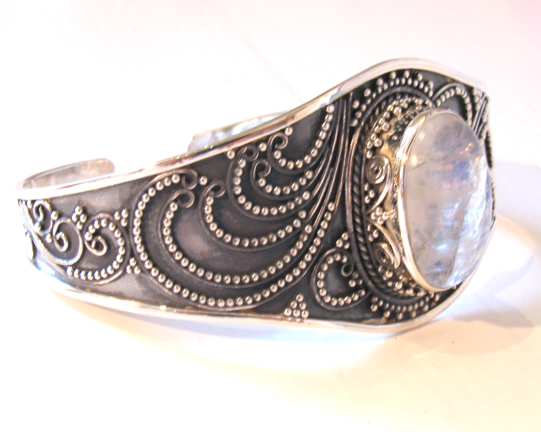 Sterling Silver Moonstone Bangle Tatiana