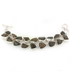 Smokey Quartz and Sterling Silver Bracelet Arabella