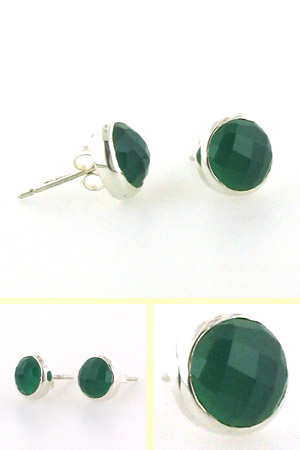 Faceted Green Onyx Stud Earrings Carly