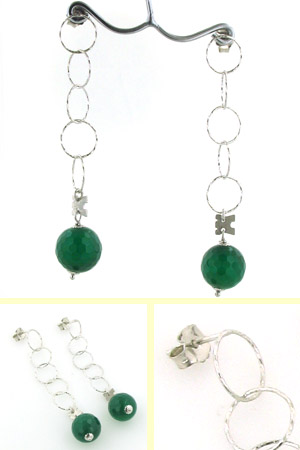 Green Agate Dangle Earrings Zelda