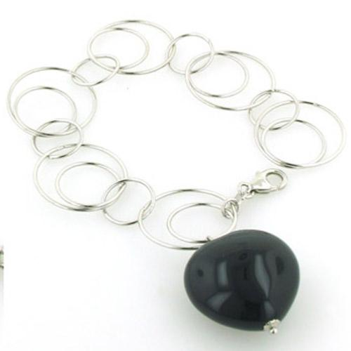 Sterling Silver Link Bracelet with Black Onyx Heart