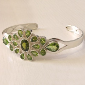 Sterling Silver and Peridot Bangle Carmen