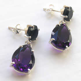 Amethyst and Black Onyx Earrings Marie