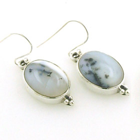 Dendritic Agate Oval Drop Earrings Dorota