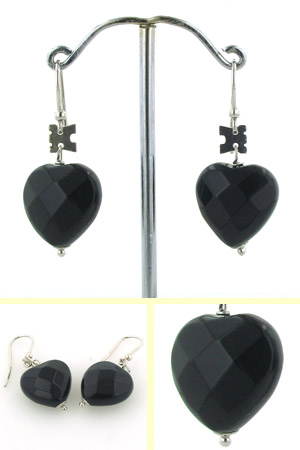 Black Onyx Heart Earrings Chiara