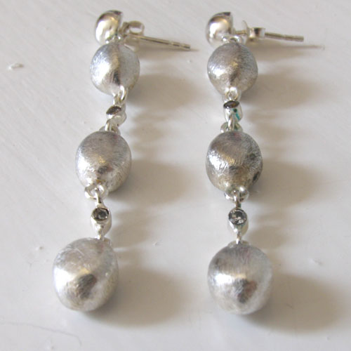 Sterling Silver Oval Bead Earrings Ursula
