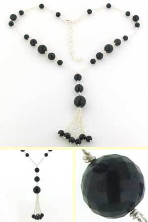 Black Onyx Bead Necklace Belle