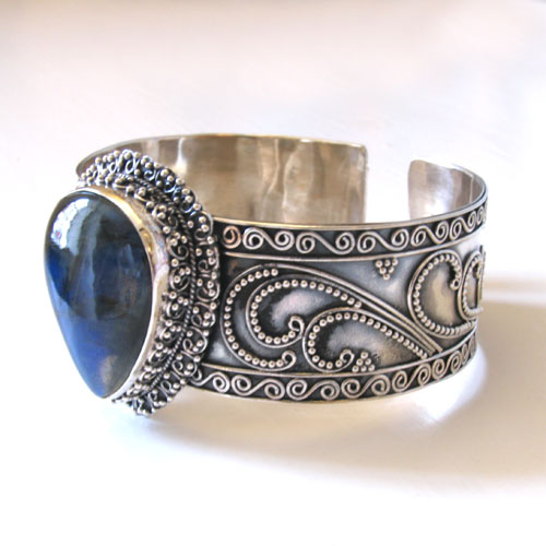 Sterling Silver Labradorite Cuff Bangle Jacinta