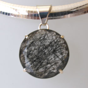 Large Faceted Black Rutilated Quartz Pendant Patty