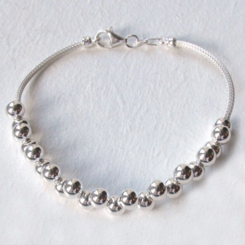 Sterling Silver Mesh Bracelet With Balls