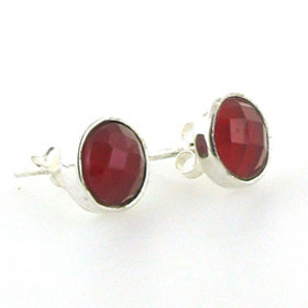 Faceted Red Onyx Stud Earrings Carly