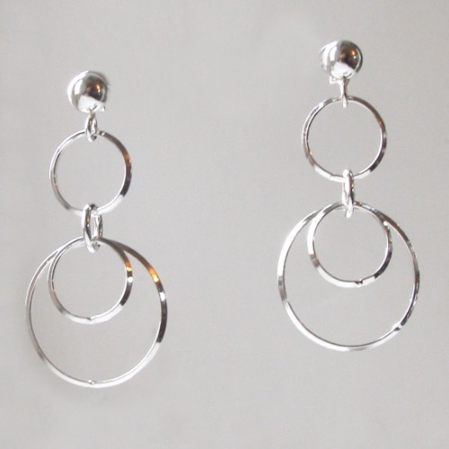 Sterling Silver Dangly Rings Earrings Iria