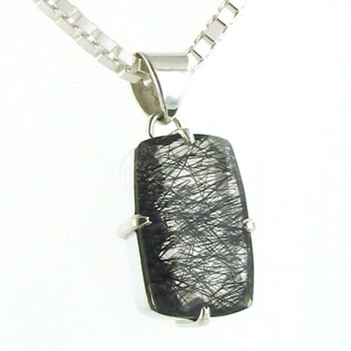 Faceted Black Rutilated Quartz Pendant Hazel