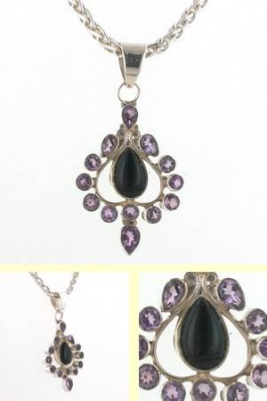 Black Onyx and Amethyst Pendant Leigh