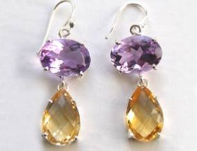 amethyst citrine earrings