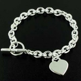 Sterling Silver 8.5mm Rolo Link Heart Bracelet