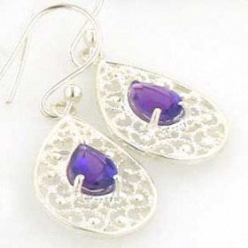 Amethyst Droplet Earrings Rebecca