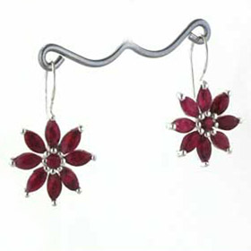 Ruby Flower Earrings Lilly