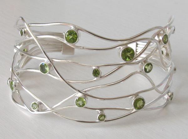 Sterling Silver Peridot Cuff Giselle