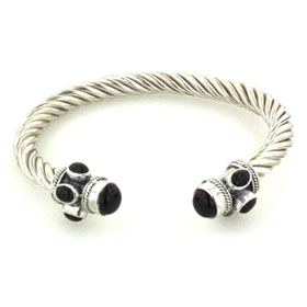 Sterling Silver Rope Bangle with Black Onyx