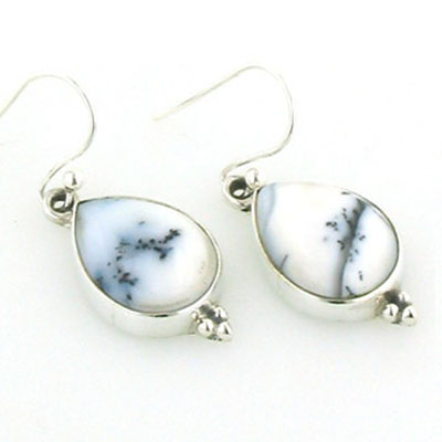 Dendritic Agate Tear Drop Earrings Adelle