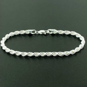 4mm Sterling Silver Rope Bracelet
