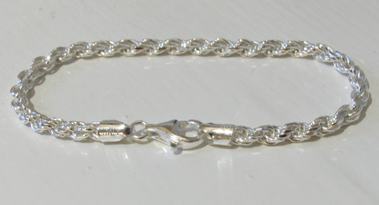 Diamond Cut  Sterling Silver Rope Bracelet, Width 4mm