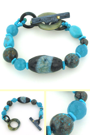 Turquoise, Agate, Apatite and Chrysocolla Bracelet Helen