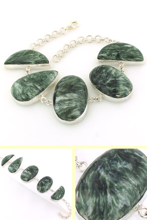 Seraphinite and Sterling Silver Bracelet Vera