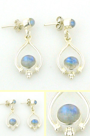 Rainbow Moonstone Drop Earrings Miranda
