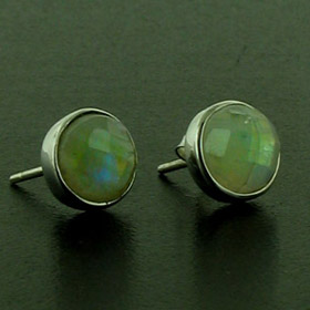 Faceted Rainbow Moonstone Stud Earrings Carly