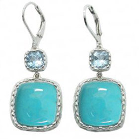 Turquoise and Blue Topaz Earrings Floriana
