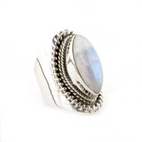 Rainbow Moonstone Ring Van Gogh