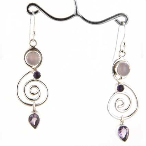 Rose Quartz and Amethyst Earrings Ligia