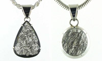Black Rutilated Quartz and Sterling Silver Pendants