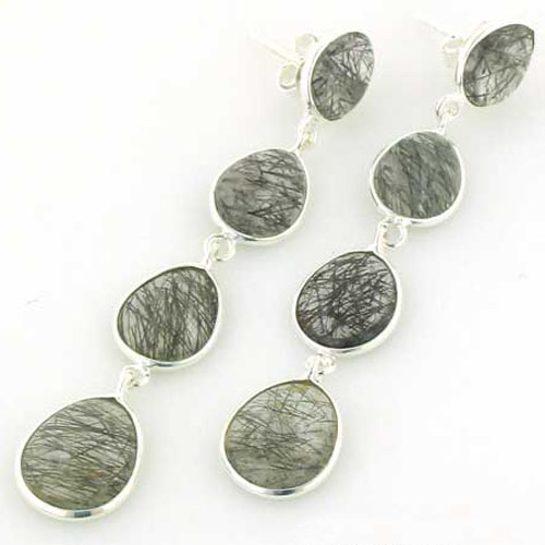 Black Rutilated Quartz Earrings Adrienne