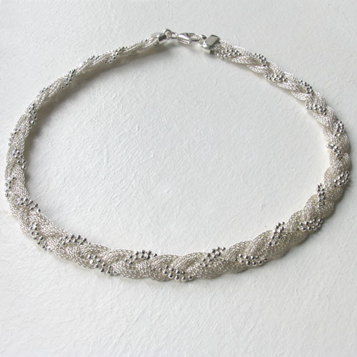 Sterling Silver Plaited Mesh and Ball Chain Necklace