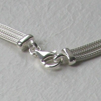 Sterling Silver 3 Strand Twisted Mesh Necklace