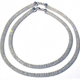 Italian 8mm Sterling Silver Crystal Mesh Necklace