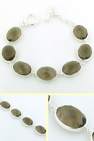 Smokey Quartz and Sterling Silver Bracelet Nina