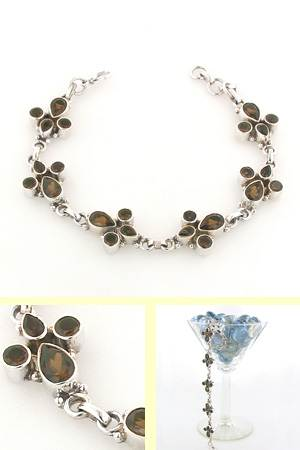 Smokey Quartz and Sterling Silver Bracelet Tessa