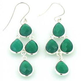 Green Onyx Waterfall Earrings Fay