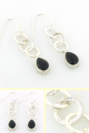 Black Onyx Earrings Cherry